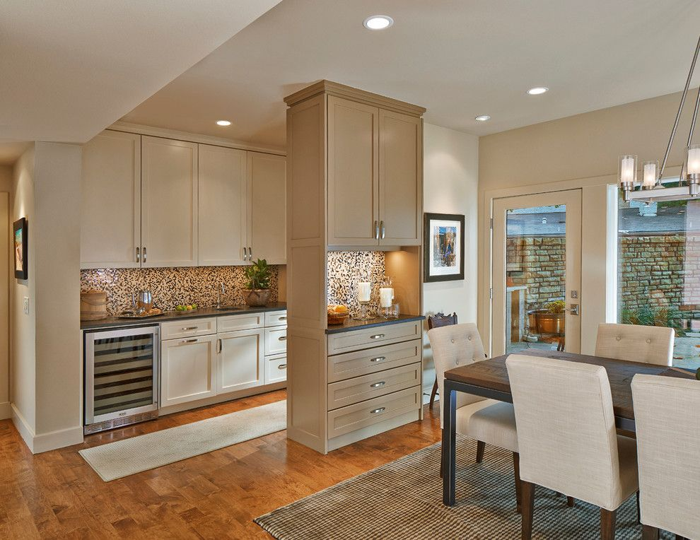 Sherwin Williams Kilim Beige For A Transitional Kitchen With Wine Storage And Wet Bar By