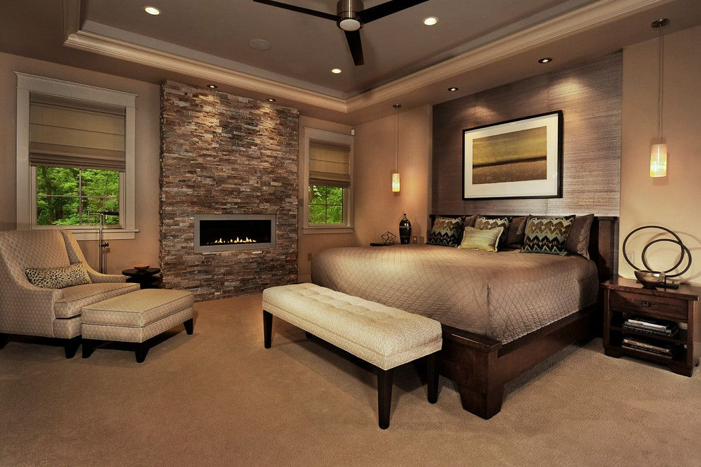 Sherwin Williams Latte for a Contemporary Bedroom with a Dark Wood Bed and Hillside Home by Norman Kohl for Nathan Mayo & Associates
