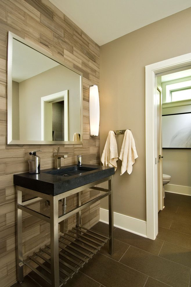 Sherwin Williams Latte for a Rustic Bathroom with a Brown and 2011 Showcase   Hillside Retreat by Witt Construction