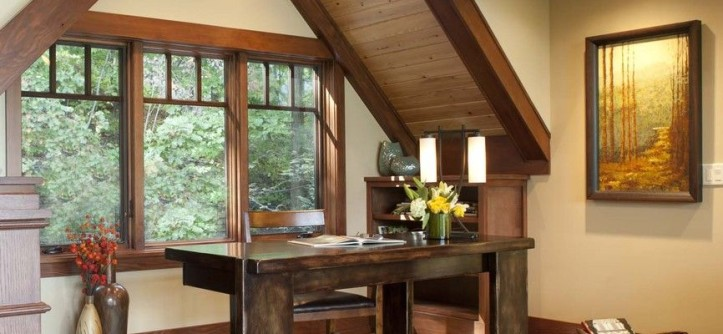 Sherwin Williams Macadamia for a Contemporary Home Office with a Dark Stained Wood and Living Stone Construction, Inc. by Living Stone Construction, Inc.
