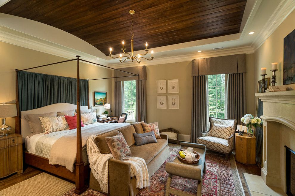 Sherwin Williams Macadamia for a Traditional Bedroom with a Bedroom Sofa and Southern Living Home by Id Studio Interiors