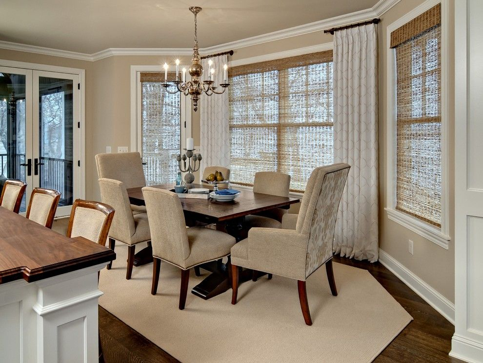 Sherwin Williams Macadamia for a Traditional Dining Room with a Shaped Rug and Dining Room by Design by Lisa