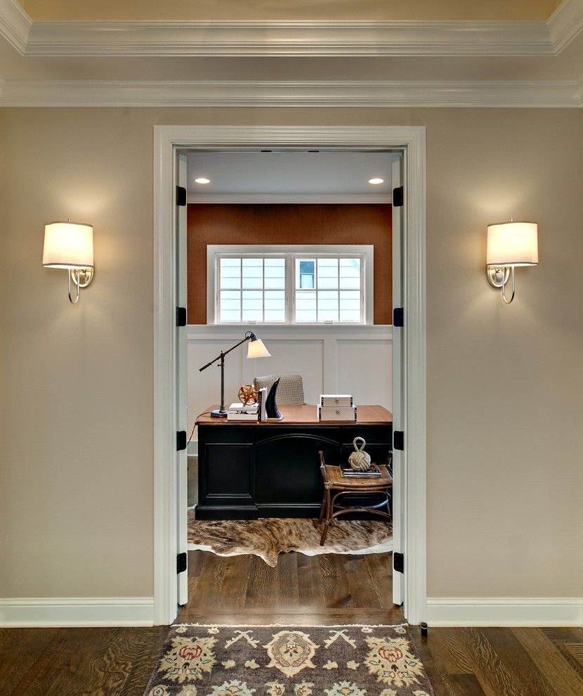 Sherwin Williams Macadamia for a Traditional Home Office with a Wood Molding and Study by Design by Lisa