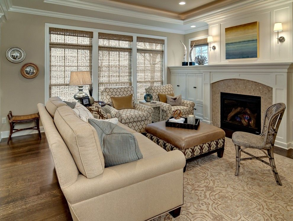 Sherwin Williams Macadamia for a Traditional Living Room with a Grass Shades and Living Room by Design by Lisa