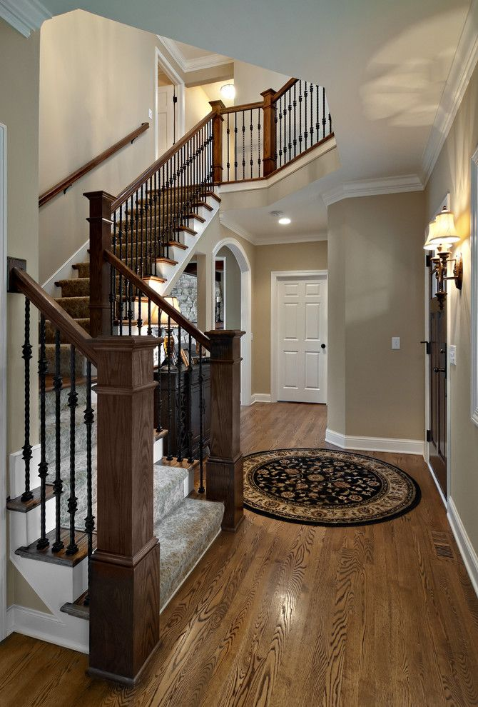 Sherwin Williams Macadamia for a Traditional Staircase with a Foyer and Whole House Remodel by Knight Construction Design Inc.