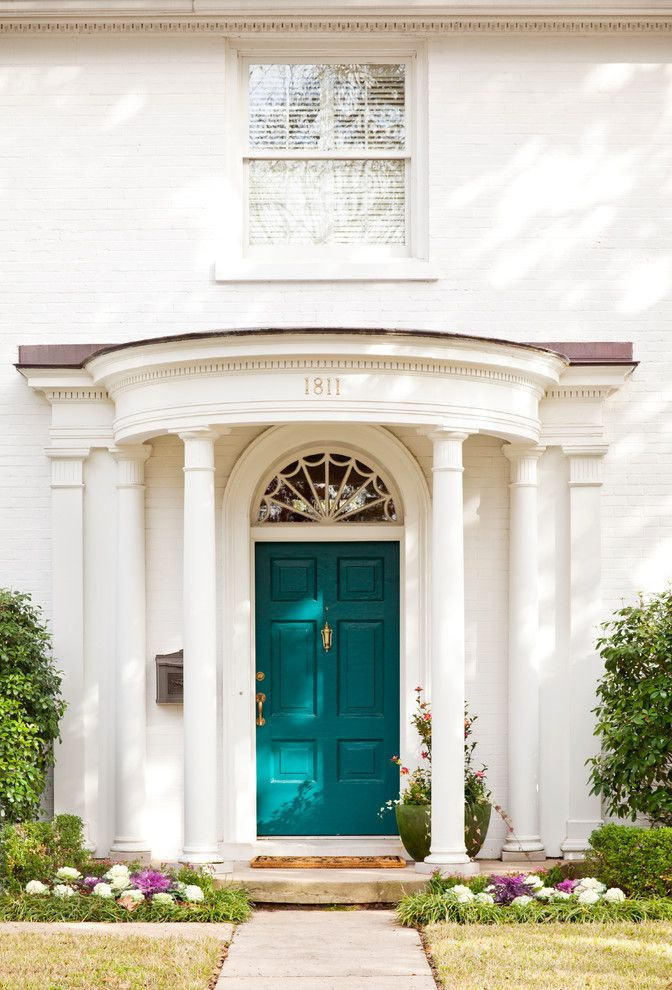 Sherwin Williams Naval for a Traditional Entry with a Front Door and Madison by Andrea Brooks Interiors