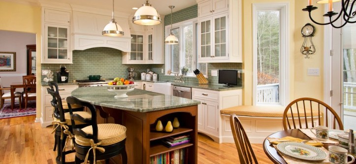 Sherwin Williams Naval for a Traditional Kitchen with a Green Tile and Spring Kitchen by Teakwood Builders, Inc.