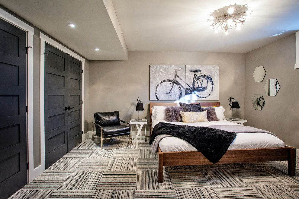 Sherwin Williams Peppercorn for a Contemporary Bedroom with a French Doors and Funky Fresh Basement by Madison Taylor