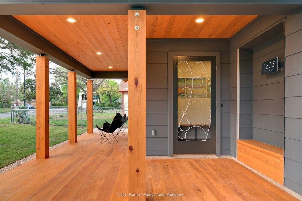 Sherwin Williams Peppercorn for a Contemporary Entry with a Glass Door and Moontower Residence by Stuart Sampley Architect
