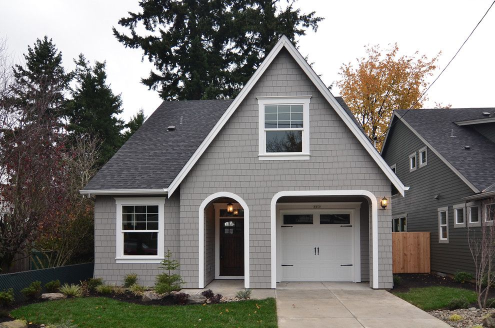 Sherwin Williams Peppercorn for a Traditional Exterior with a Shingles and Morrison House Plan by Renaissance Homes by Renaissance Homes
