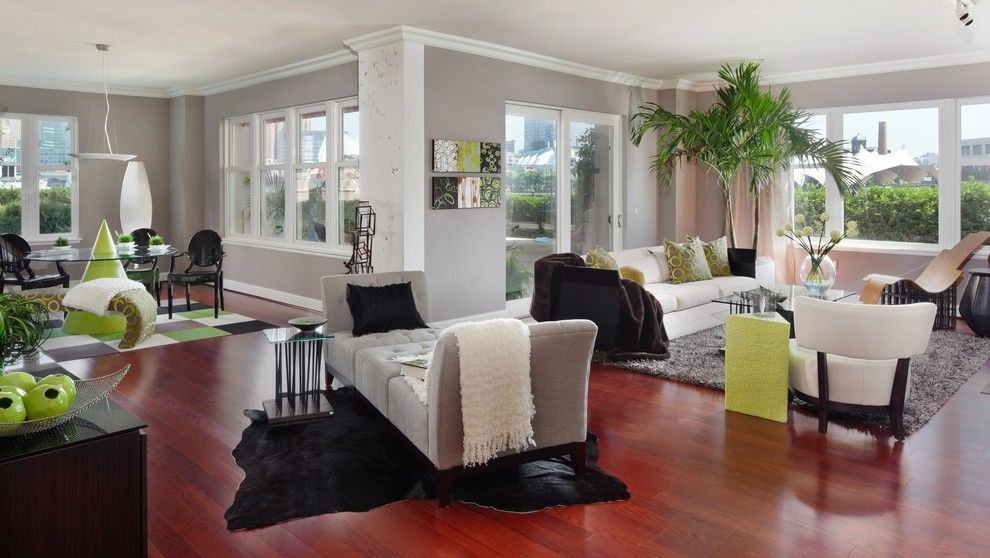 Sherwin Williams Repose Gray for a Contemporary Living Room with a Aquarium and Ritz Carlton Residences by Victor Liberatore Interior Design