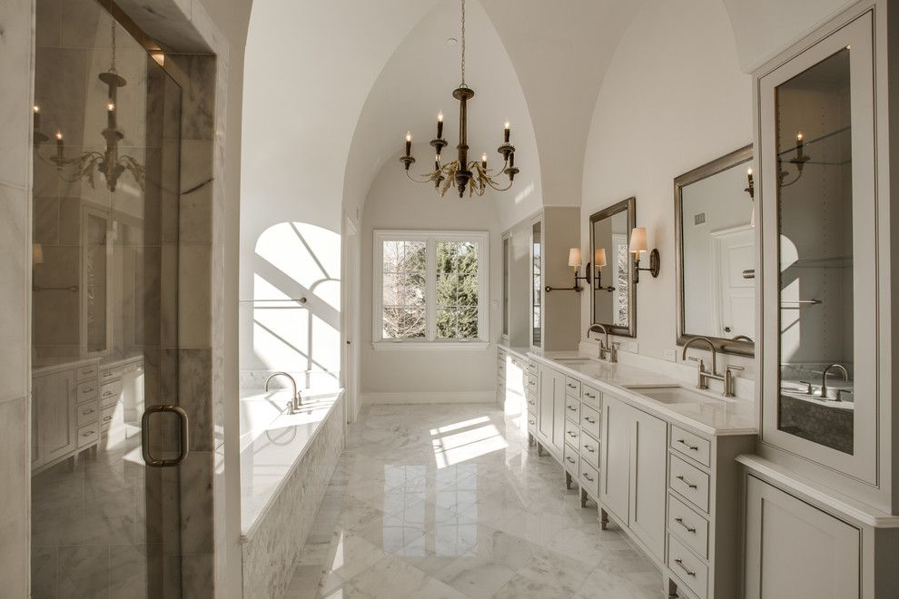 Sherwin Williams Repose Gray for a Traditional Bathroom with a Vaulted Ceiling and University Park   English Estate on Colgate by Jd Smith Custom Homes