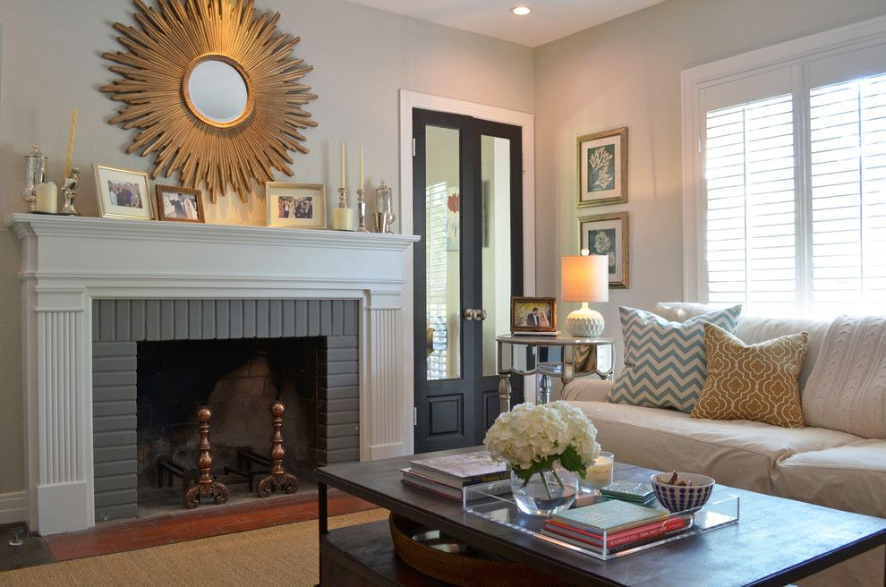 Sherwin Williams Repose Gray for a Traditional Living Room with a Gray and Dallas, Tx: Ross & Megan Brown by Sarah Greenman