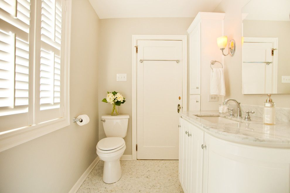 Sherwin Williams Repose Gray for a Victorian Bathroom with a Windows and Pleasant Run Pkwy Master Bathroom by Case Design & Remodeling Indy
