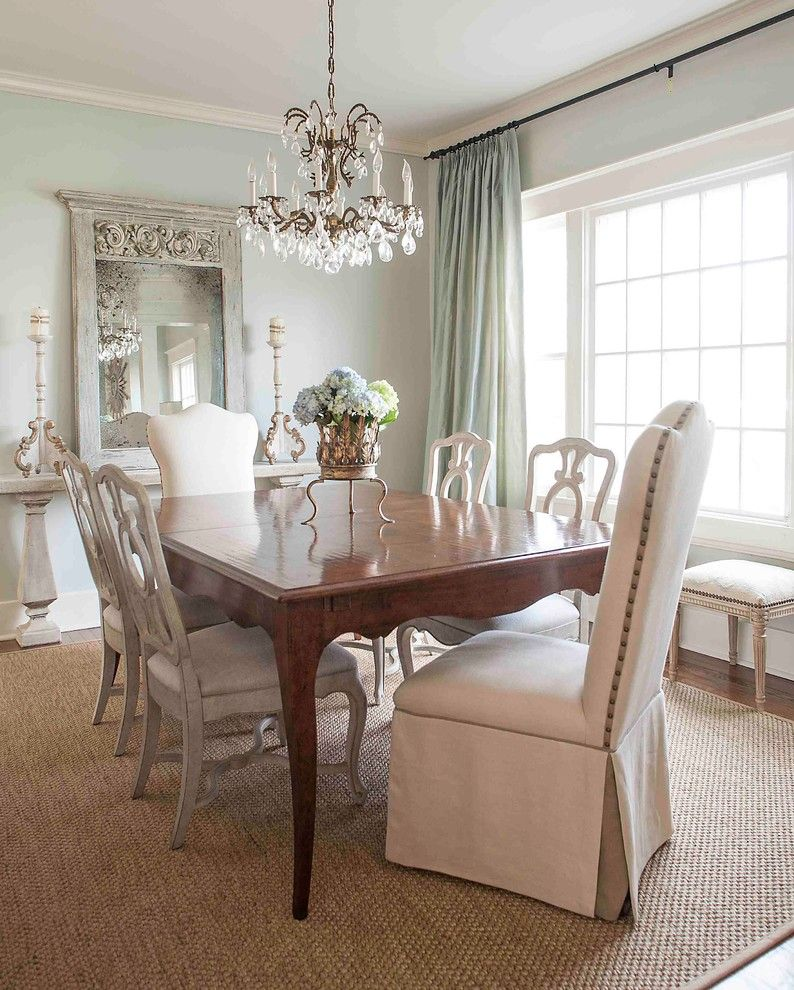 Sherwin Williams Sea Salt for a Victorian Dining Room with a Curtain Rod and Palm Street by Cobblestone & Vine