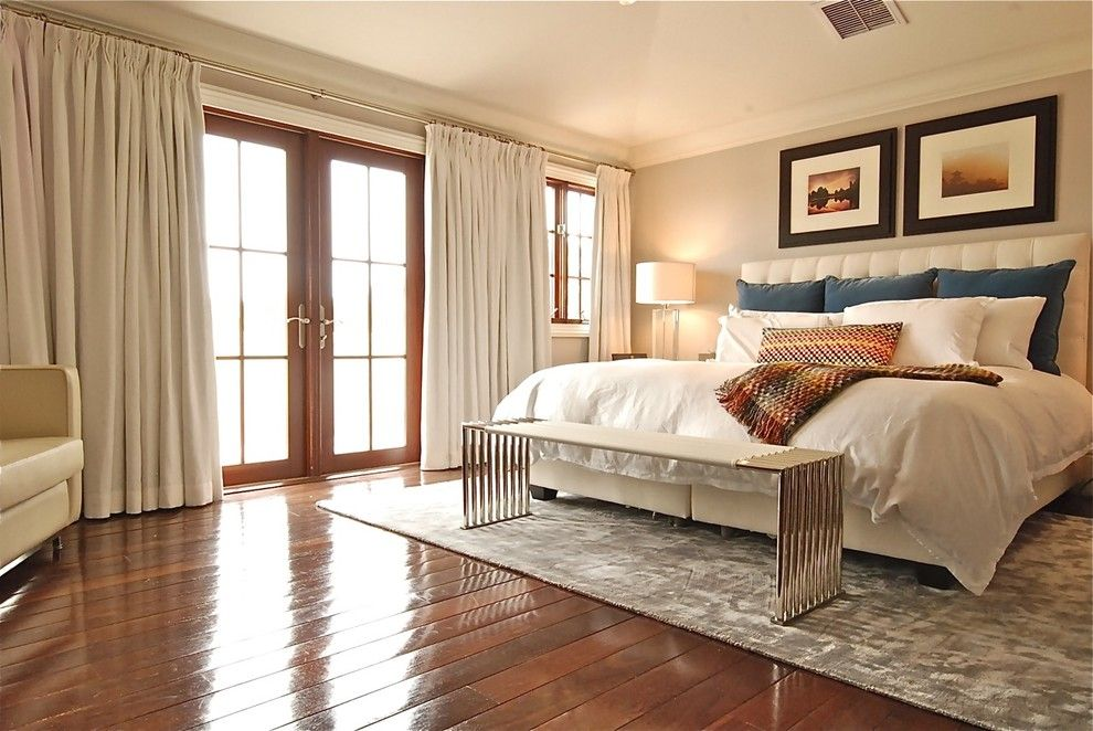 Sherwin Williams Silvermist for a Contemporary Bedroom with a Metal Bench Seat and Munroe by Before and After Homes