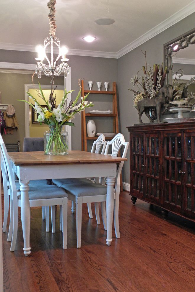 Sherwin Williams Silvermist for a Traditional Dining Room with a Crown Molding and Dallas, Tx: James and Lynsey Purl by Sarah Greenman