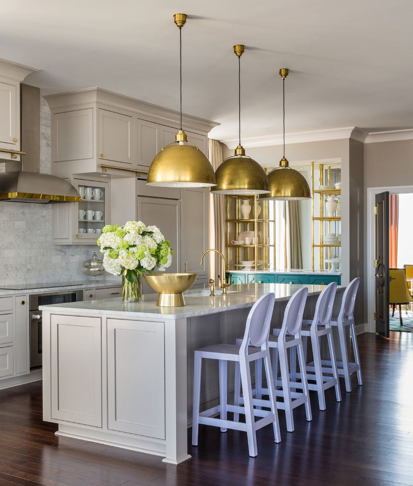 Sherwin Williams Silvermist for a Transitional Kitchen with a Natural Light and Riverside Penthouse by Tobi Fairley Interior Design