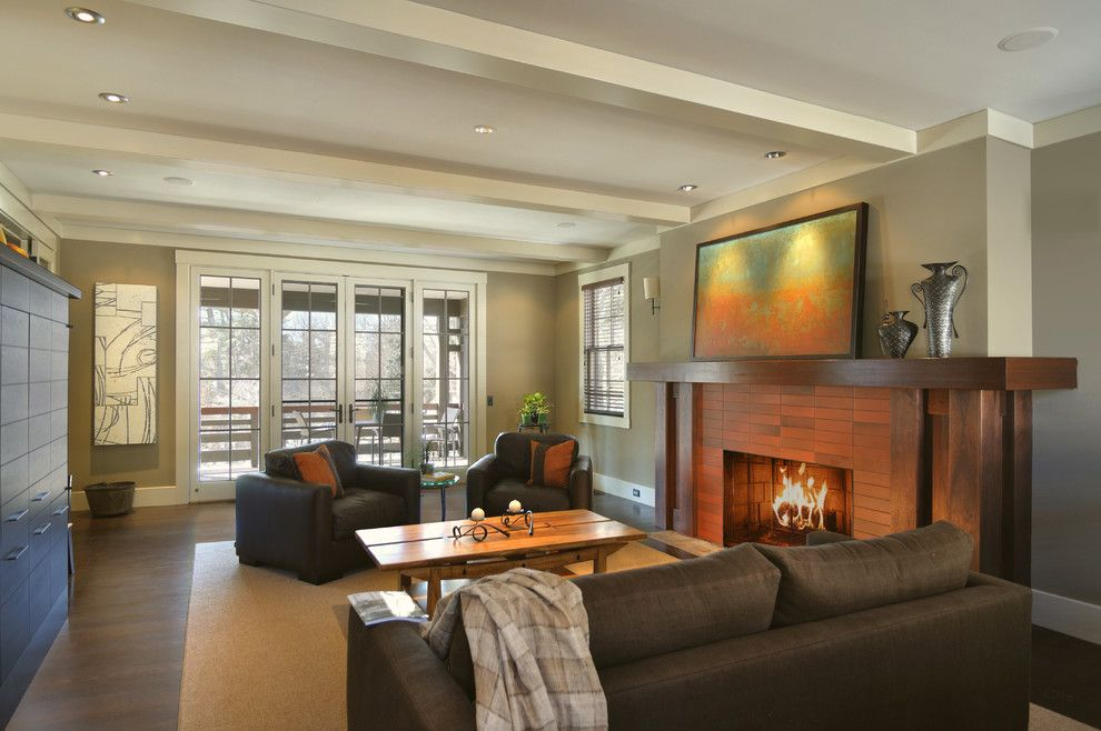Sherwin Williams Softer Tan for a Contemporary Living Room with a Tile Fireplace and Lakeview Park Renovation by Alchemy Design Studio