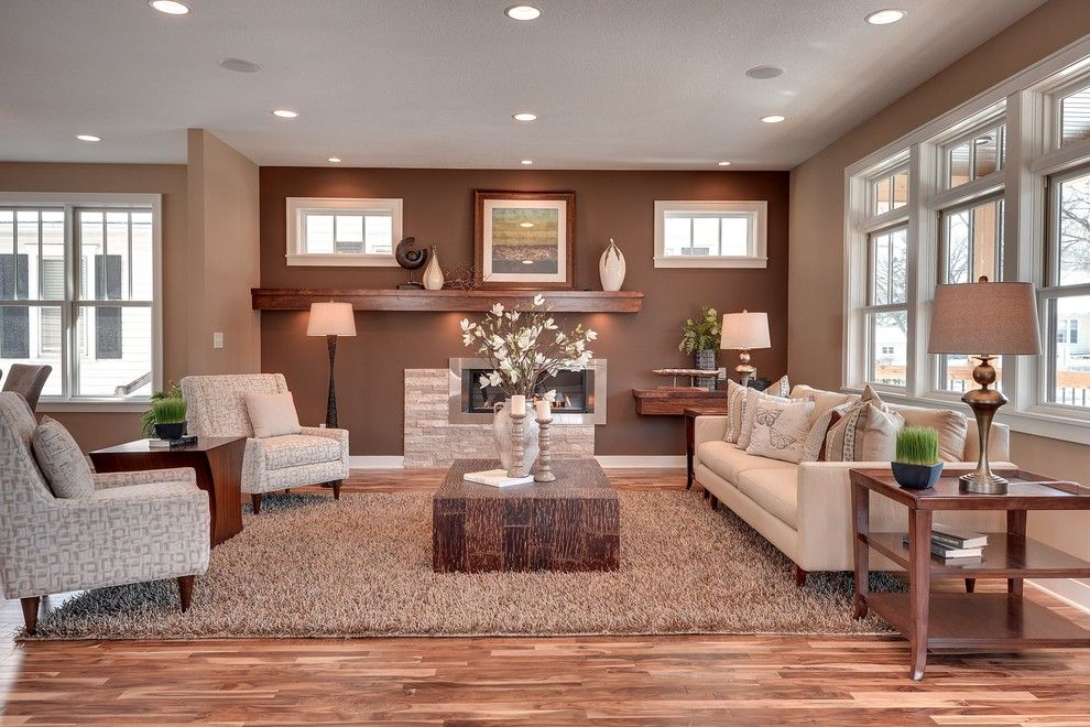 Sherwin Williams Softer Tan for a Transitional Living Room with a Area Rug and 53rd & Drew Ave   Minneapolis Fulton Neighborhood by Sustainable Nine Design + Build
