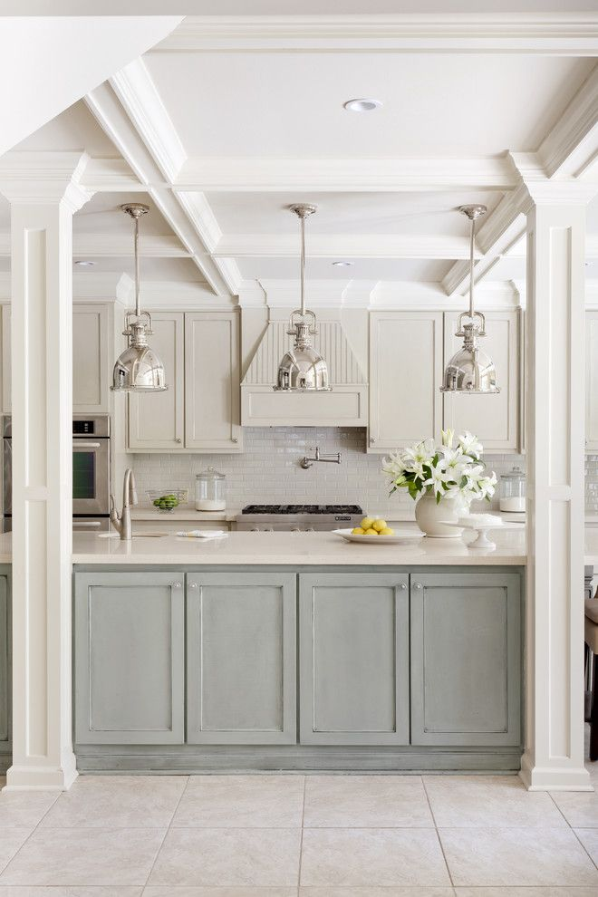 Sherwin Williams Stain Colors for a Transitional Kitchen with a Frame and Panel and Pleasant Valley by Tobi Fairley Interior Design