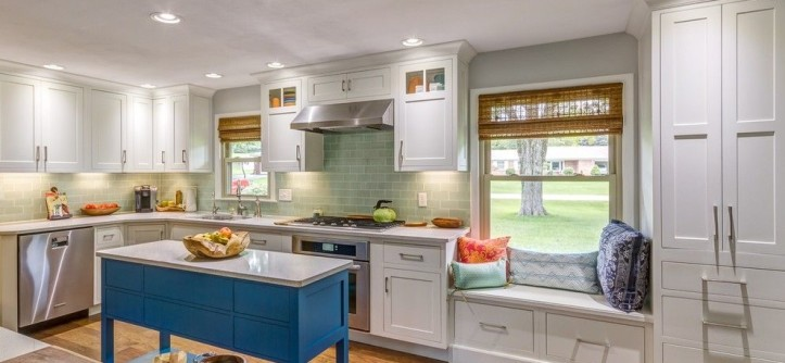 Shiloh Cabinetry for a Contemporary Kitchen with a Orange Sliding Barn Door and Shiloh Cabinetry:  Modern Country Kitchen - Xenia, OH by the Kitchen Place