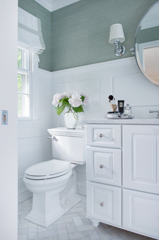 Shiloh Cabinetry for a Traditional Bathroom with a Carrara Marble and Bathroom Remodels by Schloegel Design Remodel