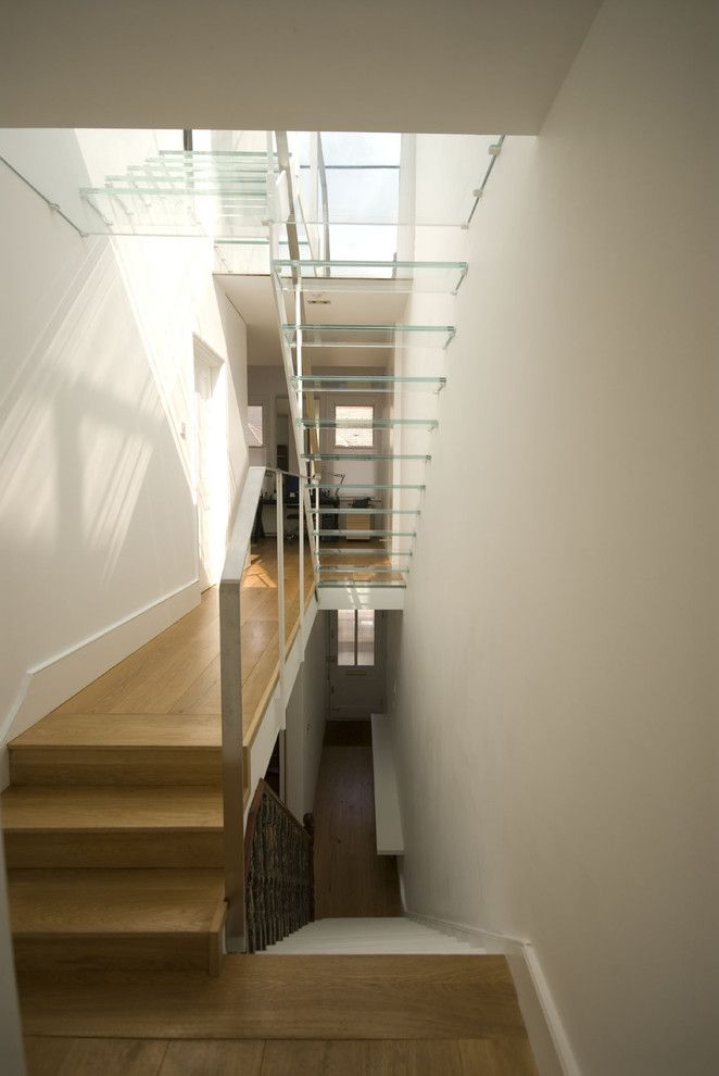 Shotgun Houses for a Contemporary Staircase with a Glass and Luis Trevino Architects by Luis Trevino Architects