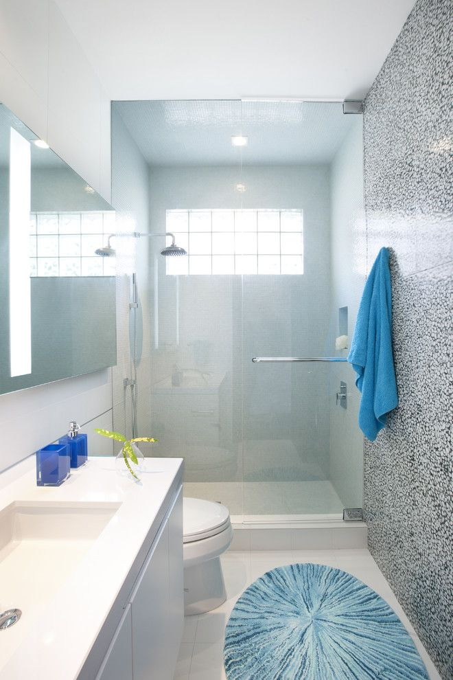 Shower Doors and Enclosures for a Contemporary Bathroom with a Modern Design and a Modern Miami Home by Dkor Interiors Inc.  Interior Designers Miami, Fl