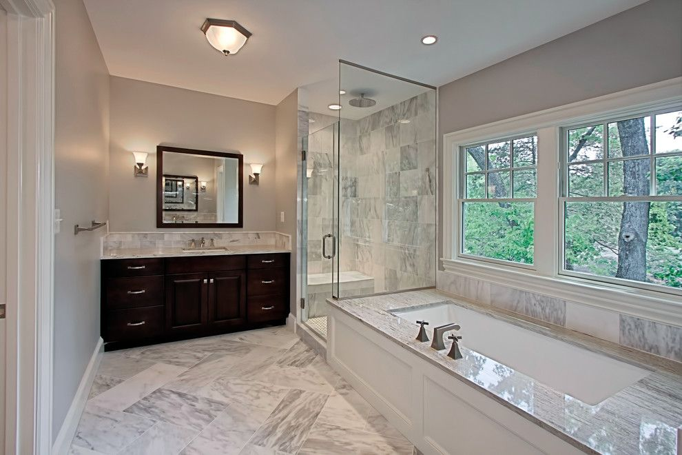 Traditional Bathroom Remodel shower doors and enclosures for a traditional bathroom with a dark