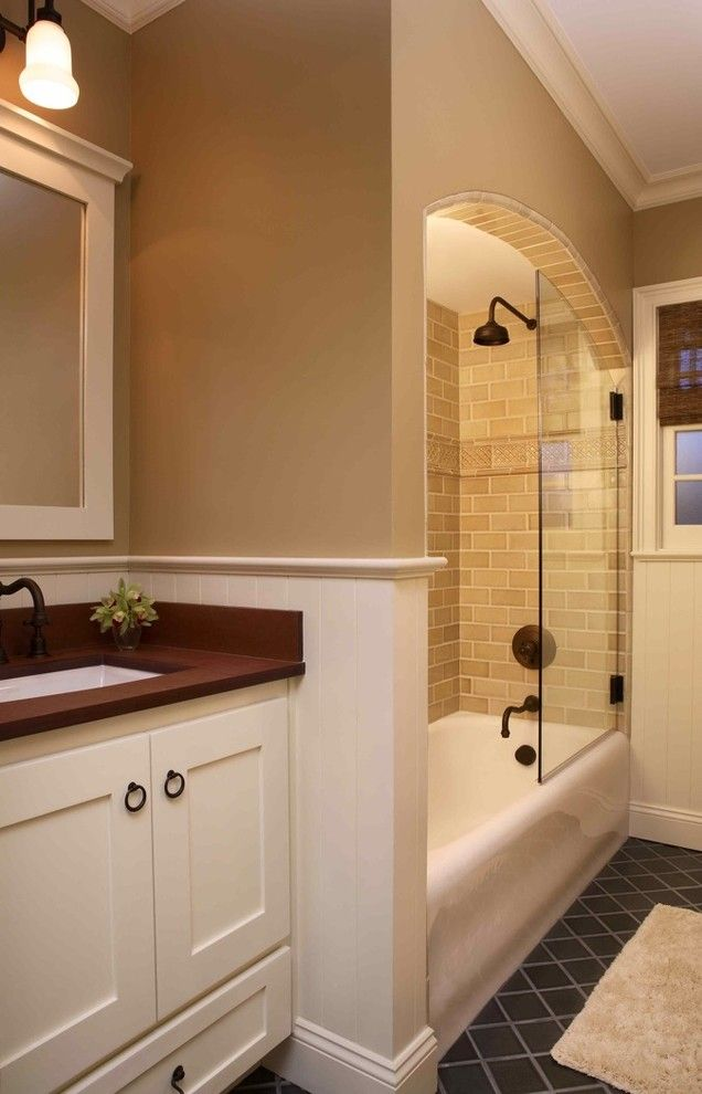 Shower Doors and Enclosures for a Traditional Bathroom with a Oil Rubbed Bronze and Menlo Park Bathroom by Holly Durocher Design