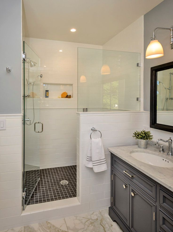 Shower Doors and Enclosures for a Traditional Bathroom with a Timeless and Bow to the Trees in Menlo Park Makeover by Hamilton Gray Design, Inc.