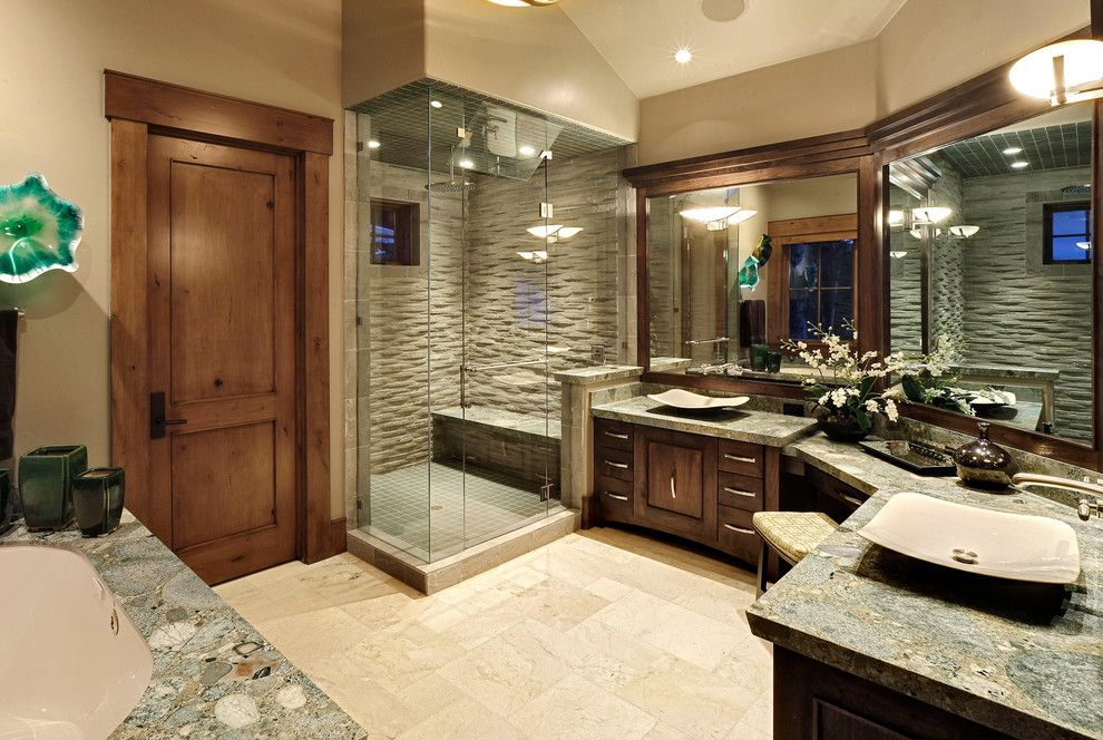 Shower Doors and Enclosures for a Traditional Bathroom with a Vessel Sink and Master Bathroom by Jaffa Group Design Build