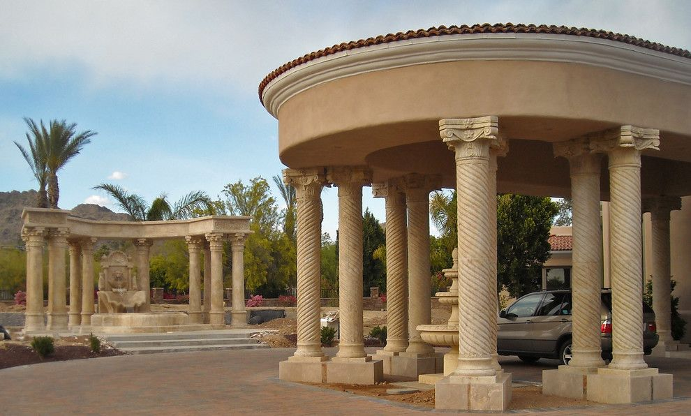 Showplace Wood Products for a Traditional Exterior with a Circle Driveway and Italian Marble   Columns, Fountains, Architectural Stone Products by Italian Marble, Llc