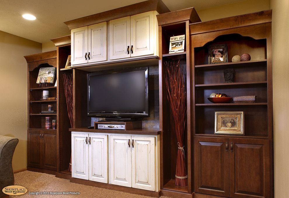 Showplace Wood Products for a Traditional Living Room with a Tv and Showplace Cabinets   Entertainment Center by Showplace Wood Products