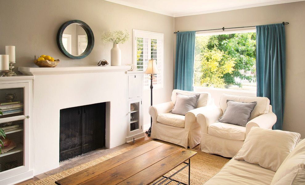 Shutterbug Santa Rosa for a Beach Style Living Room with a White Mantel and Mountain View by Beth Dana Design