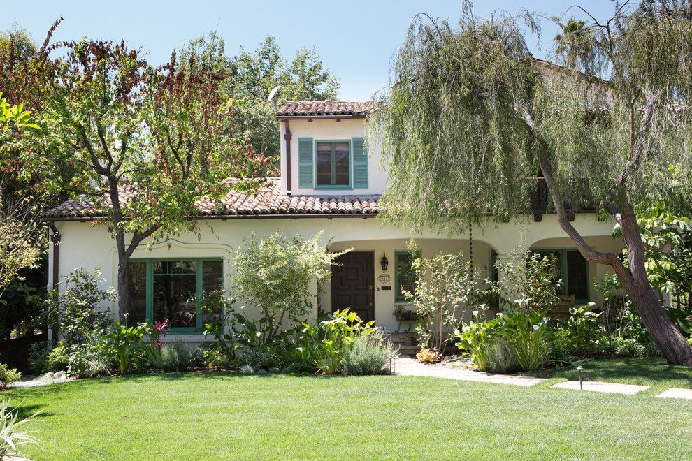 Shutterbug Santa Rosa for a Mediterranean Exterior with a Vintage Radio and Spanish Bohemian in South Pasadena by Charmean Neithart Interiors, Llc.
