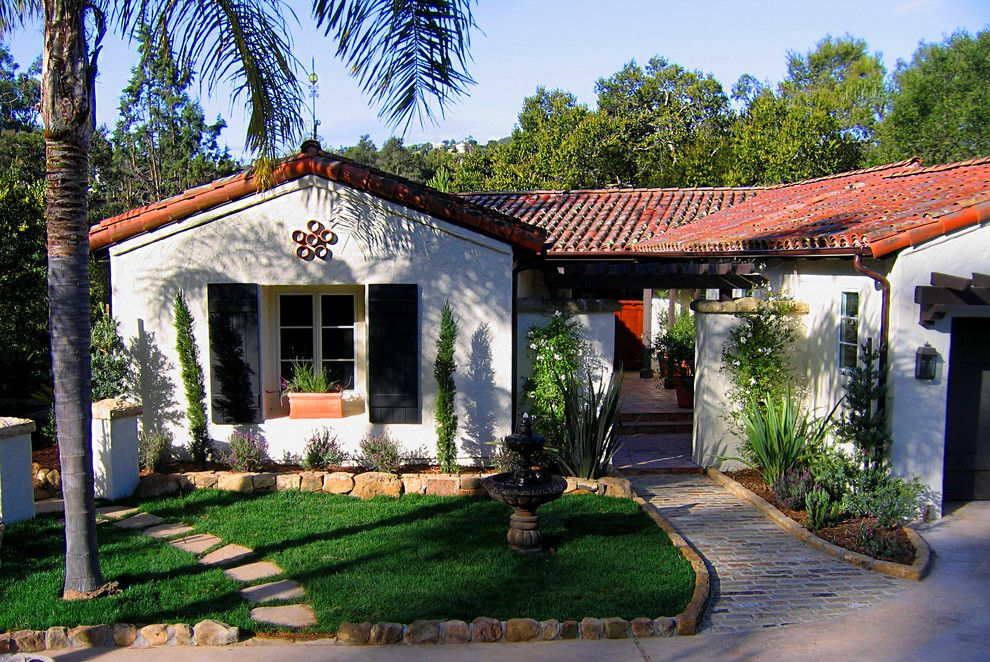 Shutterbug Santa Rosa for a Mediterranean Exterior with a White Stucco and Spanish Style Roof and Charming Spanish Revival Home in Montecito, California by Santa Barbara Home Design