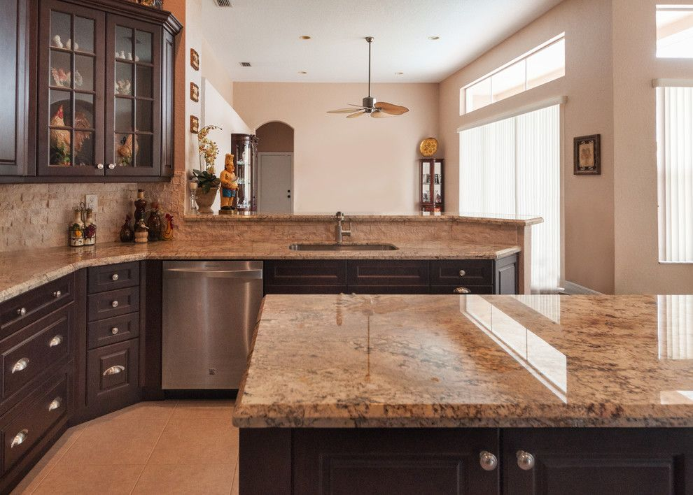 Sienna Bordeaux Granite for a  Kitchen with a Kitchen Ideas and Coral Springs Private Residence by Opustone