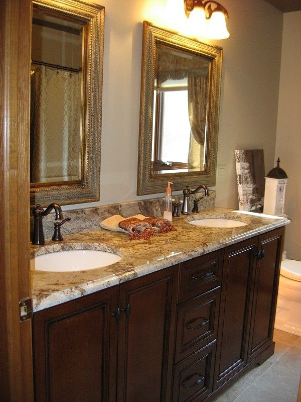 Sienna Bordeaux Granite for a Traditional Bathroom with a Full Overlay and Custom Cabinetry Projects by Christopher Jenkins