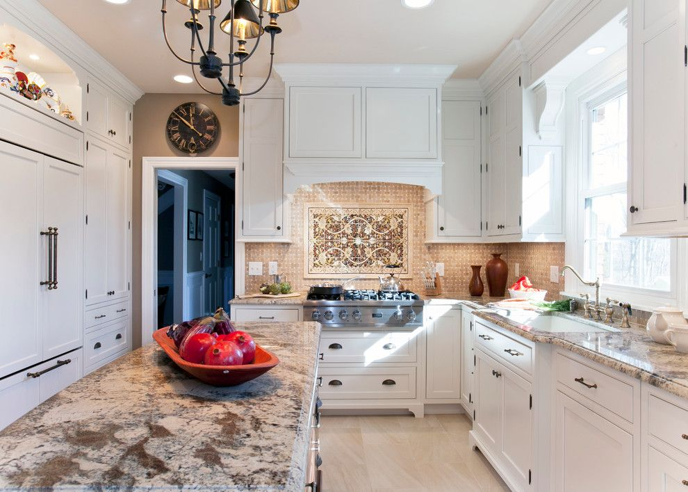Sienna Bordeaux Granite for a Traditional Kitchen with a Bridge Faucet and