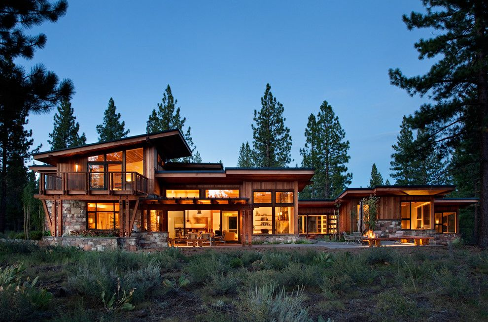 Sierra Pacific Windows for a Rustic Exterior with a Sloped Ceiling and Exterior 02 by Ryan Group Architects