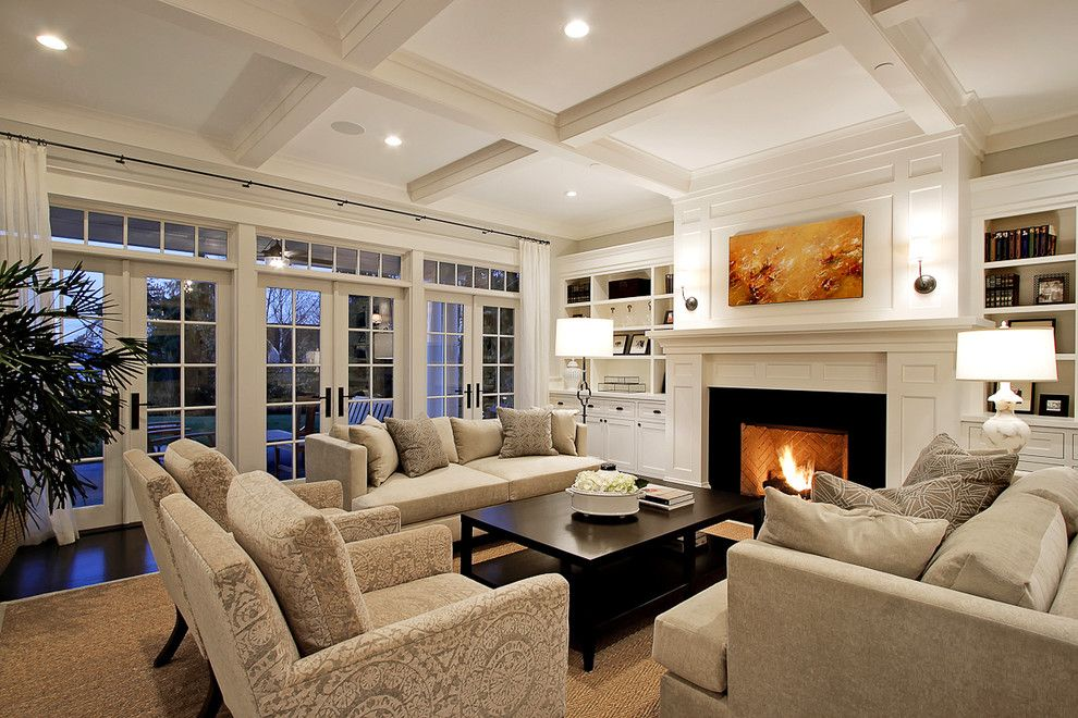 Sierra Pacific Windows for a Traditional Living Room with a Coffered Ceiling and Living Room by Paul Moon Design