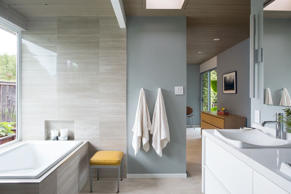 Silestone for a Contemporary Bathroom with a Double Sinks and Norcal Eichler Renovation by Gast Architects