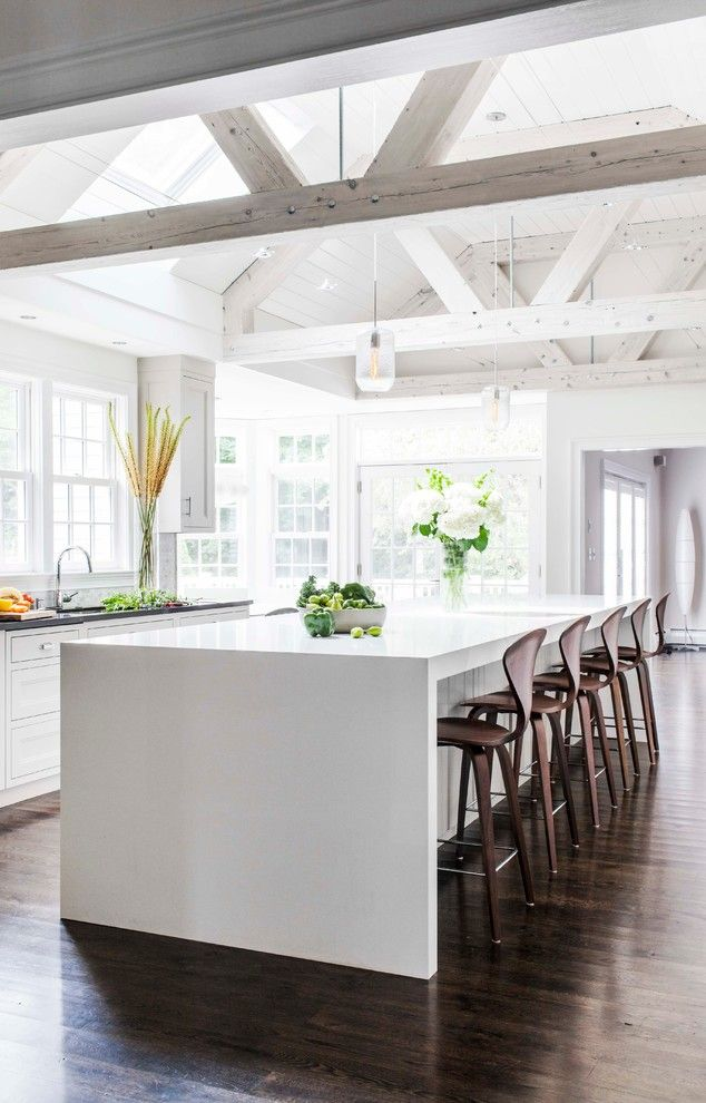 Silestone Lagoon for a Farmhouse Kitchen with a Skylight and the Family Kitchen   Hingham, Ma by Venegas and Company