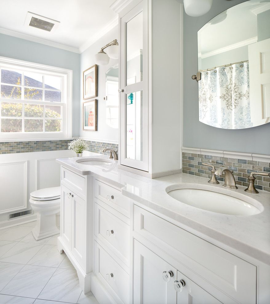 Silestone Lagoon for a Transitional Bathroom with a Vanity Tower and Lansdowne Road Hall Bath by Case Design/remodeling