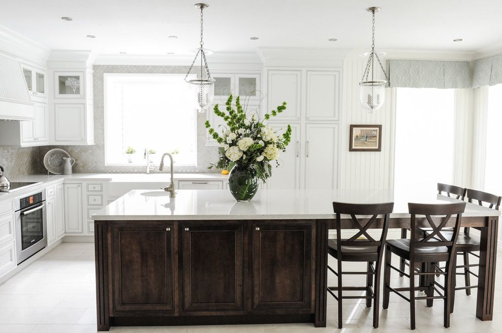 Silestone Lagoon for a Transitional Kitchen with a Farmhouse Sink and Serene Family Home by Simply Home Decorating