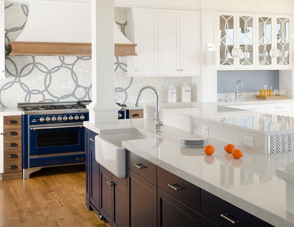 Silestone Quartz for a Contemporary Kitchen with a Rocky Mountain Hardware and Cobalt Blue and White Reno by Kitchen Cove Cabinetry & Design