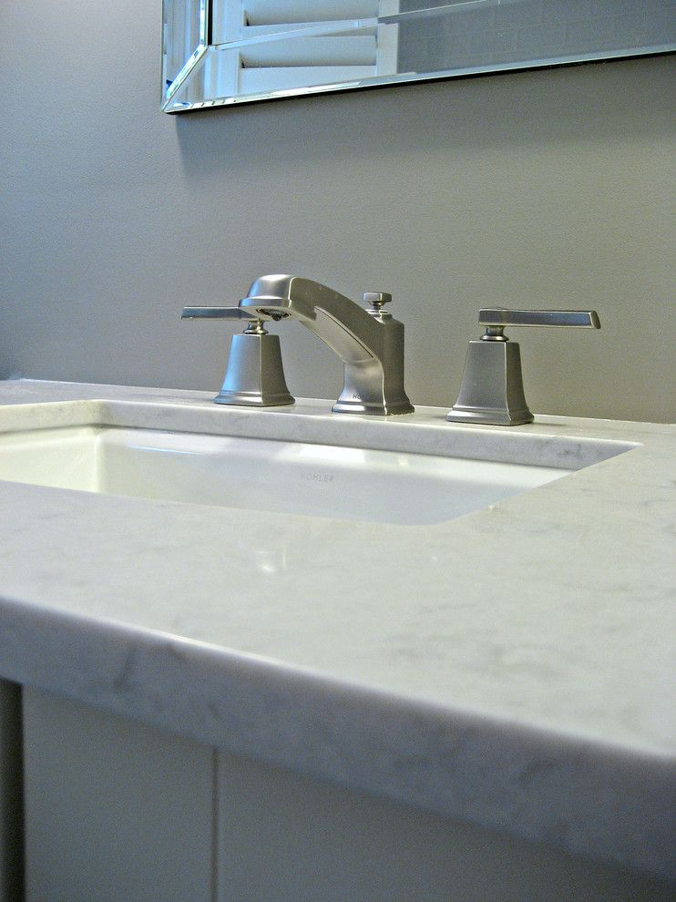 Silestone Quartz for a Traditional Bathroom with a Kohler Archer Undermount Sink and Hallway Bathroom by Involving Color and Home
