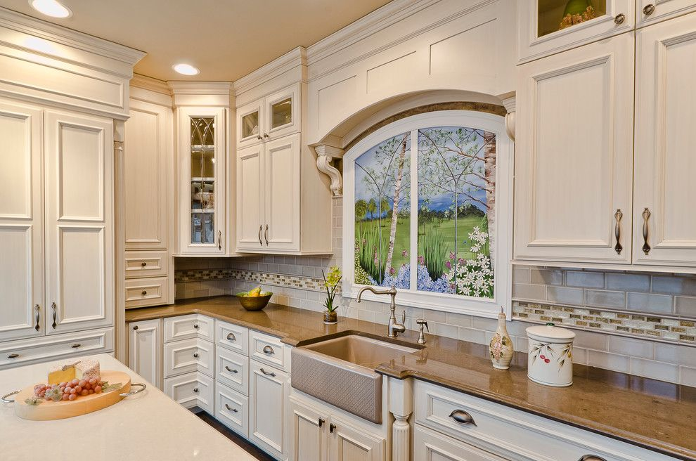 Silestone Quartz for a Traditional Kitchen with a Wall Mural and Kitchens by Bradford and Kent
